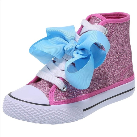 JoJo Siwa High Top Shoes Kids Pink Glitter Sparkle Chucks Sneakers JoJo Bow 2,4